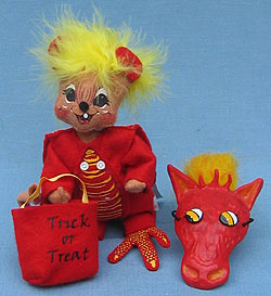 """Annalee 6"""" Trick or Treat Dragon Mouse with Mask - Mint - 328805"""
