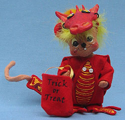 """Annalee 6"""" Trick or Treat Dragon Mouse with Mask - Mint - 328805oxt"""