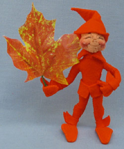 "Annalee 5"" Orange Fall Elf with Leaf - Mint - 329894xx"