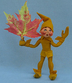 "Annalee 5"" Gold Fall Elf with Leaf - Mint - 329994ooh"