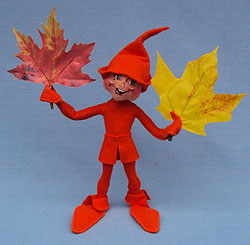 "Annalee 10"" Orange Fall Elf with Leaves - Prototype - Mint - 350900p"