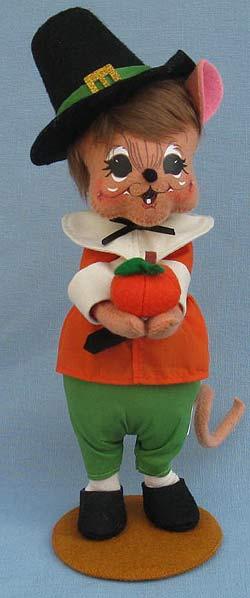 "Annalee 11"" Pilgrim Boy Mouse Holding Pumpkin 2014 - Mint - 350914"