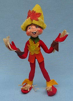 """Annalee 9"""" Red Fall Scarecrow Elf - Mint - 351410"""