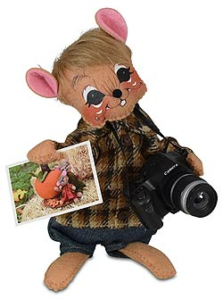 """Annalee 6"""" Foliage Photo Mouse with Camera 2020 - Mint - 360820"""