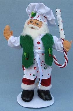 """Annalee 9"""" Chef Santa Holding Candy Cane 2017 - Mint - 400117"""