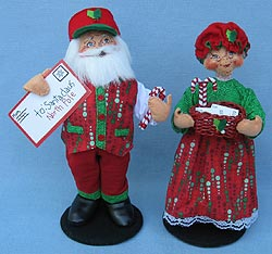 """Annalee 9"""" Special Delivery Mr & Mrs Santa 2017 - Mint - 400217-400317"""
