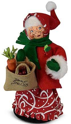 """Annalee 9"""" Christmas Swirl Mrs Santa with Bag of Deer Snacks 2019 - Mint - 410219"""