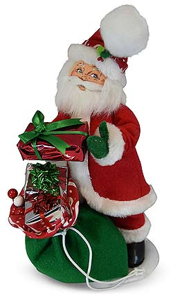 "Annalee 9"" Christmas Swirl Santa with Toybag 2019 - Mint - 410319"