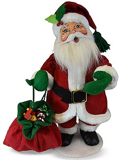"""Annalee 15"""" Traditional Santa 2019 with Sack of Toys - Mint - 410819"""