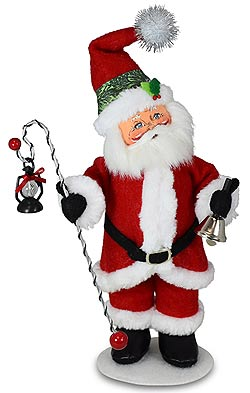 "Annalee 9"" Evergreen Santa with Lantern & Bell 2021 - Mint - 410821"