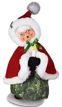 """Annalee 9"""" Evergreen Mrs Santa with Candle 2021 - Mint - 410921"""