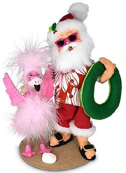"""Annalee 9"""" Sunny Santa with Flamingo 2021 - Mint - 411021"""