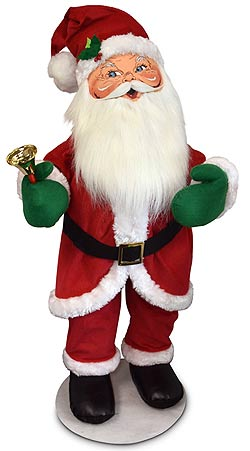 """Annalee 30"""" Traditional Santa with Bell 2019 - Mint - 411119"""