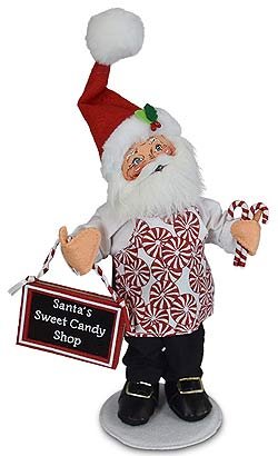 """Annalee 9"""" Peppermint Chef Santa with Sign & Candy Canes 2019 - Mint - 411219"""