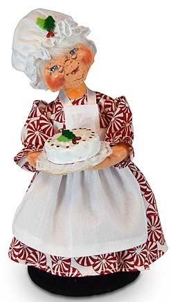 "Annalee 9"" Peppermint Mrs Chef Santa Holding Cake 2019 - Mint - 411319"