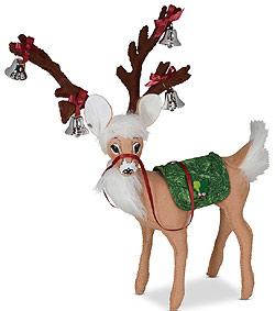 "Annalee 8"" Evergreen Reindeer with Bells 2021 - Mint - 460321"