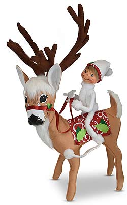 "Annalee 16"" Christmas Swirl Reindeer with 9"" White Elf 2019* - Mint - 460519"