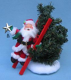 """Annalee 6"""" Santa Decorating Tree - Mint - 470103"""