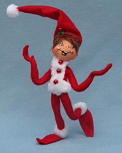 """Annalee 9"""" Red Ribbon Elf - Mint - 500410"""