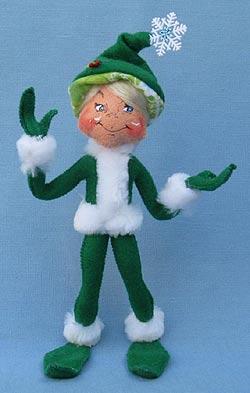 "Annalee 9"" Green Snowflake Elf - Mint - 500812"