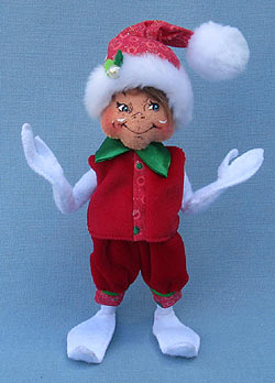 """Annalee 9"""" White Glitter Dot Elf - Mint - 501512"""