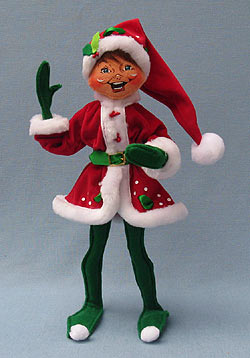 """Annalee 14"""" Holly Berry Elf - Mint - 502009"""