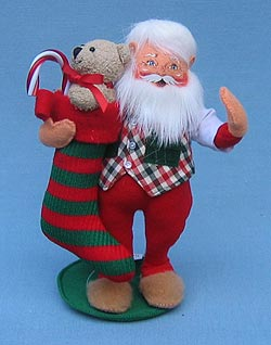 "Annalee 9"" Santa with Stocking - Mint - 502103"