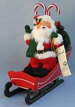 "Annalee 9"" Santa in Sleigh - Mint - 502503"