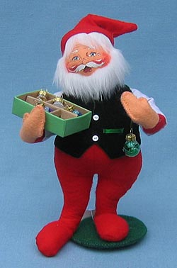 """Annalee 9"""" Santa with Box of Ornaments - Excellent - 503306a"""