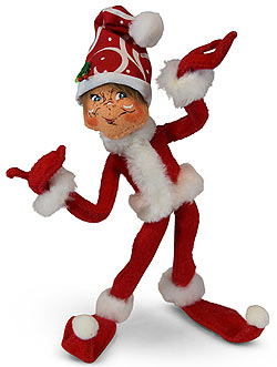 "Annalee 9"" Red Christmas Swirl Elf 2019 - Mint - 510219"