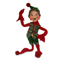"Annalee 9"" Plaid Tidings Elf - Red - 2018 - Mint - 510718"