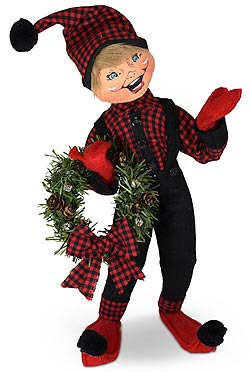 "Annalee 14"" Winter Woods Elf with Wreath 2021 - Mint - 510921"
