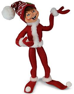"Annalee 14"" Red Christmas Swirl Elf  2019 - Mint - 511019"