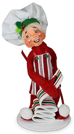 """Annalee 5"""" Ribbon Candy Chef Elf 2021 - Mint - 511021"""