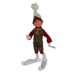 "Annalee 14"" Plaid Tidings Elf - White - 2018 - Mint - 511218"