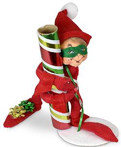 """Annalee 9"""" Gift Wrap Robber Elf 2021 - Mint - 511221"""