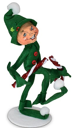 """Annalee 9"""" Candy Cane Smasher Elf 2021 - Mint - 511321"""