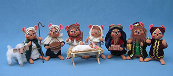 "Annalee Set of 9 - 6"" Mouse Nativity - Mint - 5442-545006"