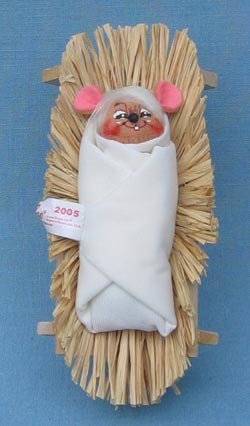 "Annalee 3"" Baby Jesus in Manger Mouse - Mint - 544405"