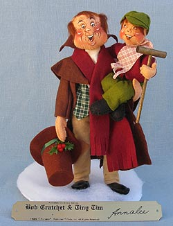 """Annalee 10"""" Dickens Bob Cratchet with 5"""" Tiny Tim with Brass Plaque - Excellent - 546289a"""