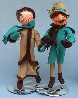 """Annalee 18"""" Man & Woman Victorian Skaters - Mint/ Near Mint - 5476-5477-93a"""