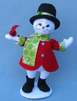 "Annalee 9"" Snowflake Snowman with Cardinal - Mint - 550212"