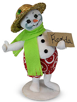 "Annalee 9"" Hitchhiker Snowman Heading to Florida 2019 - Mint - 560019"