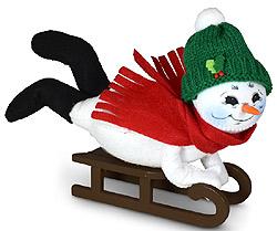 "Annalee 9"" Sledding Snowman 2021 - Mint - 560021"