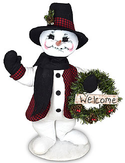 "Annalee 15"" Winter Woods Snowman with Wreath 2021 - Mint - 560221"