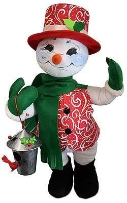 "Annalee 20"" Christmas Swirl Snowman Holding Birdhouse 2019 - Mint - 560319"