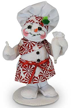 """Annalee 5"""" Peppermint Chef Snowman Holding Pastry Bag 2019 - Mint - 560419"""