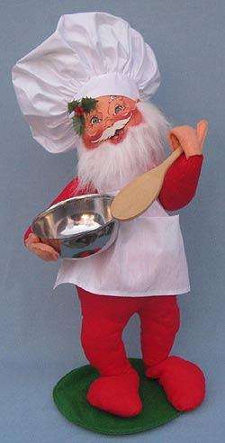 "Annalee 18"" Chef Santa Holding Bowl - 1989 - Mint  - 563289"