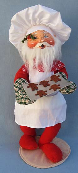 """Annalee 18"""" Chef Santa Holding Tray with Gingerbread Cookies - Mint - 563295"""
