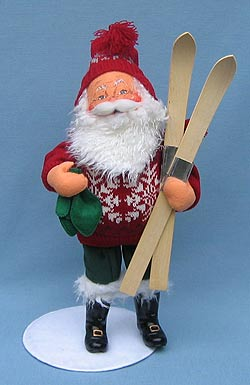 "Annalee 15"" Skiing Santa - Mint - 581303"